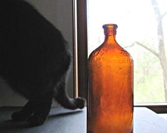 Vintage Clorox Bottle, Amber Glass, Vintage Glass Bottles, 1930's, Old Glass Bottle, Antique Bottle, Brown Glass Bottle, Vintage Industrial