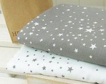 Stars Cotton Fabric - Grey Stars or White Stars - By the Yard 53717