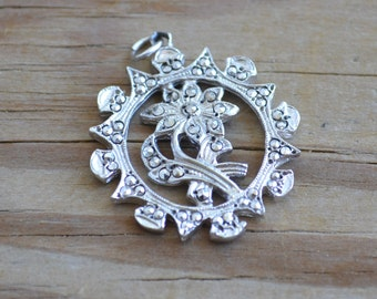 Beautiful antique edwardian art deco rhodium plate silver tone pendant with floral design & marcasites / wedding / bridal / something old