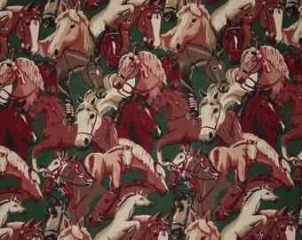 RARE OOP Horse on Hunter Green Fabrics Robert Kaufman Equestrian Fabric