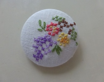 1 7/8  Inch Studio Button Covered with Rescued Vintage Cross Stitch Embroidered Flowers
