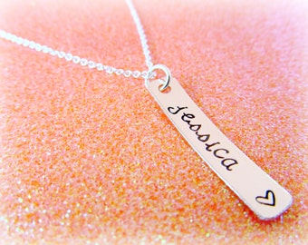 Personalized Sterling Silver Hand Stamped Name Necklace - Metal Tag Sterling Silver Keepsake - Gift for Mom - Gift for Her - Women's Jewelry