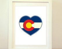 Colorado Heart, Colorado Heart Flag, Colorado Print, Colorado Home, Colorado Wall Art, Colorado Poster, Colorado State Art, Colorado Decor