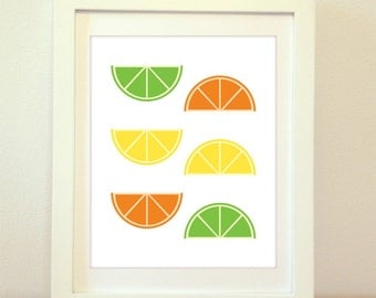 Orange, Lime, Lemon, Citrus Print, Citrus Poster, Orange Print, Lime Print, Lemon Print, Lemon Poster, Home Decor, Kitchen Print