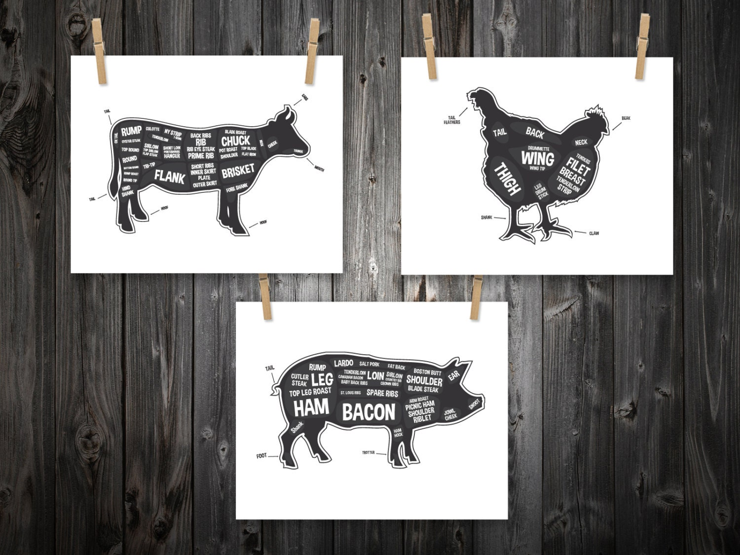 Cow pig chicken butcher diagram butcher chart kitchen Pig kitchen decor