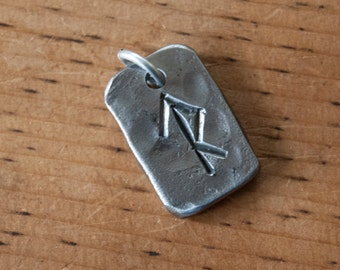 Custom Made Rune Tile Pendant - Hand forged