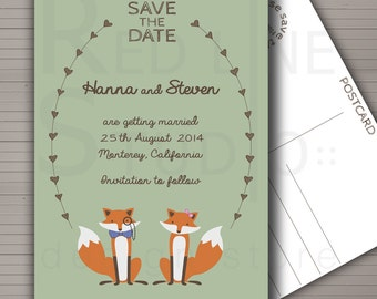 Foxes Save the date postcard or Invitation suite -  Printable.