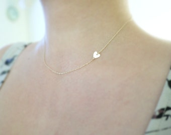 Tiny gold heart necklace - sideways heart , center heart - 14k gf - dainty jewelry