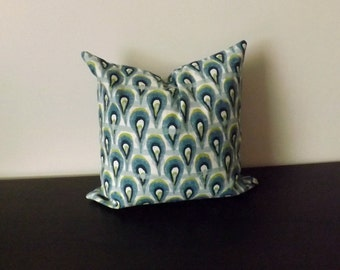 Decorative Throw Pillow,Ikat Pillow Cover, Decor Pillow, Navy Blue Green Turquoise Pillow Case, Toss Pillow Accent Pillow,16x16  Pillow