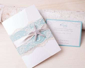 10% OFF ~ SANDY: Beach Wedding Invitation, Starfish Wedding Invitation, Destination Wedding Invitation, Lace Invitation, Turquoise White