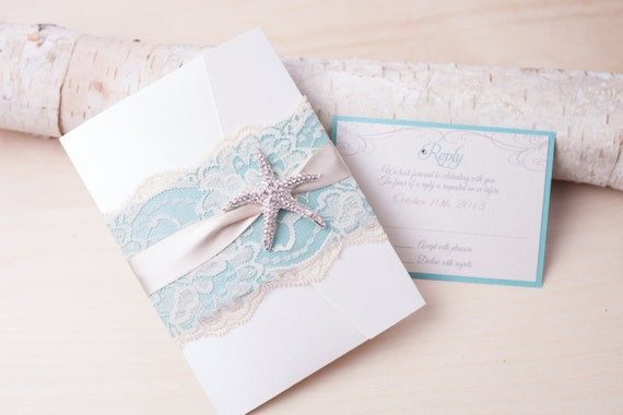 SANDY: Beach Wedding Invitation Starfish Wedding Invitation