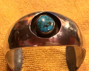 SALE - Native American Signed Silver & Turquoise Cuff Bracelet
