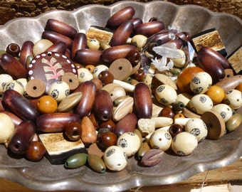 Bead Blow Out Sale Nature Walk Vintage Wooden Bead and Pendant Lot
