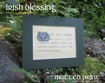 Book of Kells Irish Blessing Celtic PRINT (May your neighbor respect you...)