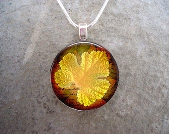 Autumn Jewelry - Glass Leaf Pendant Necklace - Autumn Leaves 7 - RETIRING 2017