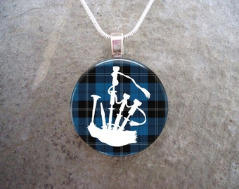 Celtic Jewelry - Glass Pendant Necklace - Highland Bagpipe Jewellery - Bagpipes on Blue Tartan