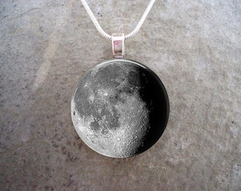Waning Gibbous Moon Necklace - Glass Pendant - Astronomy Jewelry