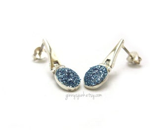 Sterling Silver Earrings with Ocean Blue Glitter - Sterling Silver Jewelry - Gifts for Her - Christmas Gifts