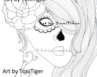 Adult Coloring Page Sugar Skull Girl Art Instant Download