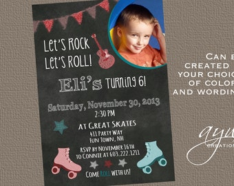 Rollerskating Birthday Invitation Printable Rollerskating Invitations Rollerskating Party Invites Tween Any Age Boy Chalkboard Lets Roll