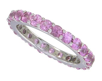 Pink Sapphire Eternity Ring 14K White Gold (5ct tw) SKU: 1862-14K-Wg