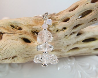 Necklace pendant clear glass freeform lampwork beads stacked with opal white crystals