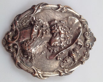 VICTORIAN Brooch Edwardian Pin SILVER Brooch Embossed LADY Brooch Pin C Clasp Ornate Details Victorian Pin Lady Pin