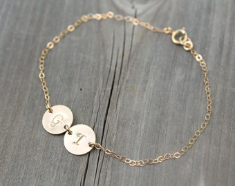 Personalized gold bracelet, Two (2) Initial discs, 14k gold filled, custom stamped Monogram letter, Best Friends friendship sisters Mother