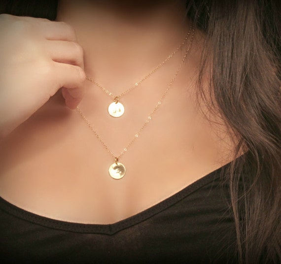 items similar to layered initial necklace fine 14k gold filled double chain personalized