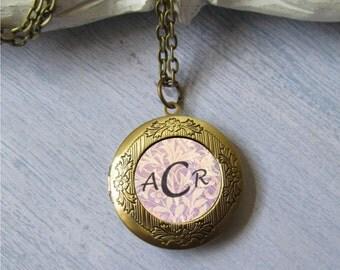 Monogram Necklace, Photo Locket, Personalized Initial Necklace, Custom Locket