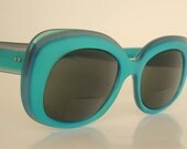 Ray-Ban Bausch & Lomb Danette Frames Made in USA Two Tone Turquoise Aqua Teal Blue Rimmed with White Frosted Lucite Plastic Retro Groovy 60s