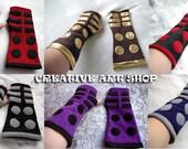 """10"""" Fleece Mittens/Arm Warmers Fingerless Gloves inspired Dr Who's Daleks"""