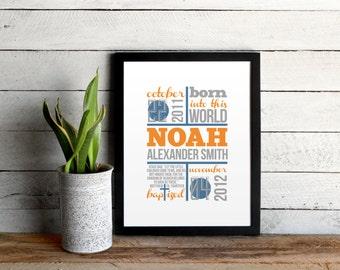 Baby Baptism Announcement Poster • Custom Boy Nursery Art, Navy & Orange Modern Baby Print •Baptism Statistic and Gift •Baby Baptism Print