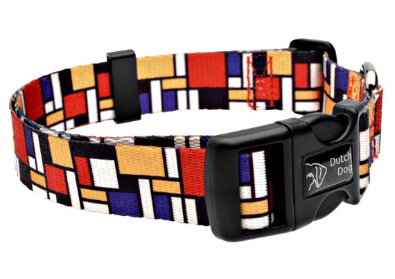 Mondrian Fashion Dog Collar - Made From Recycled Webbing