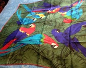Silk Amazon or parrot lovers scarf lively to say the least