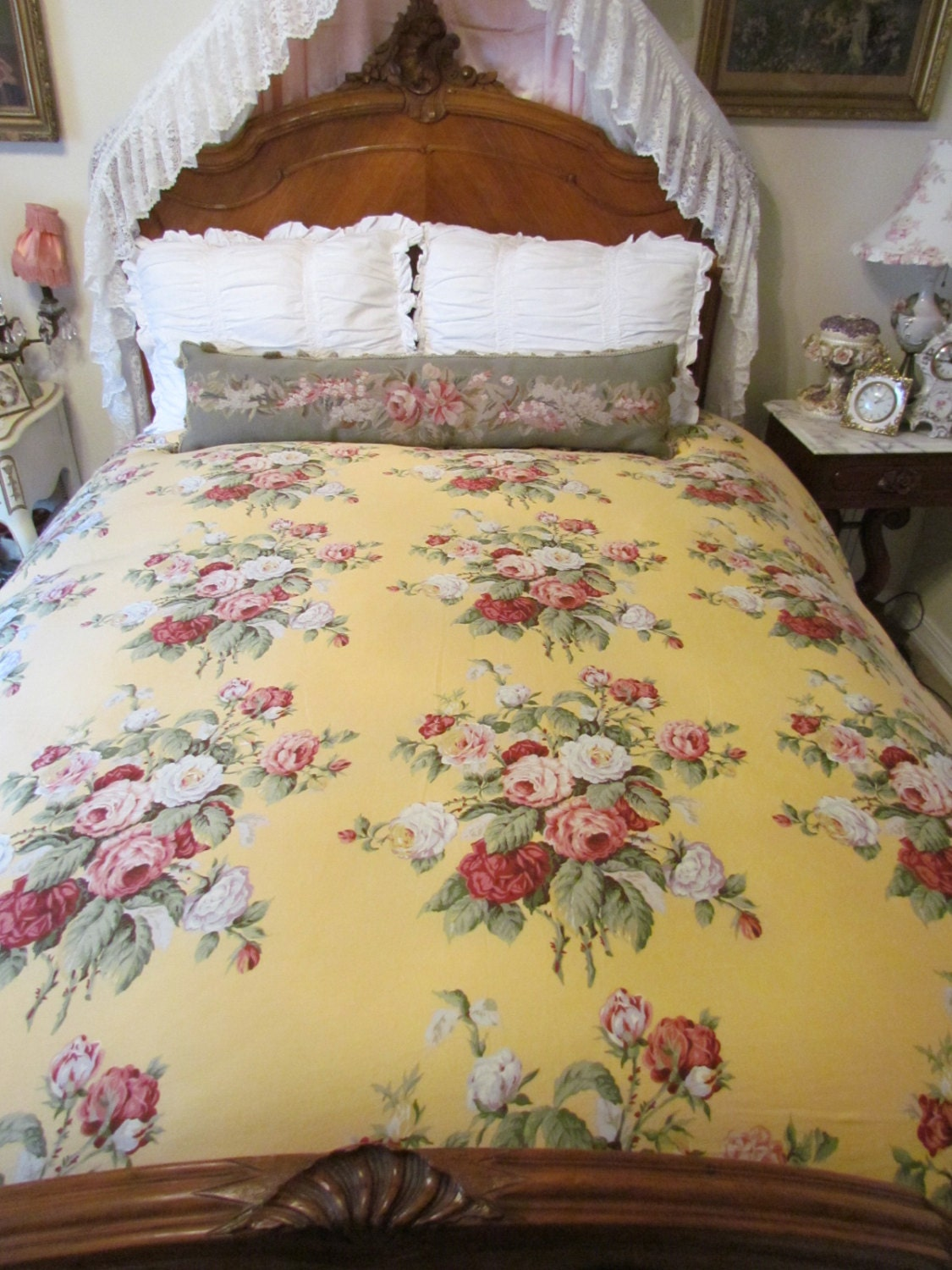Ralph Lauren Yellow Cottage Rose Kathleen Full Queen Duvet