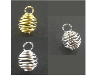 18 Very Small BEAD CAGES in Set of 3 Metals Tiny Cage for Crystals Great for Earrings Pet Collars Small Pendants  8x9 mm