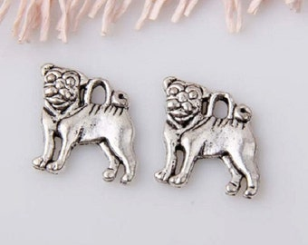 6 Small Pug Dog Charms Atq Silver Tone Alloy Pet Dogs Breed Charm Jewelry 16x15 mm