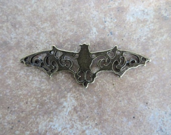 3 Large Bat Connectors Bronze or Aq Silver Tone Bats Halloween Flat Necklace Connector Jewelry 54x17 mm