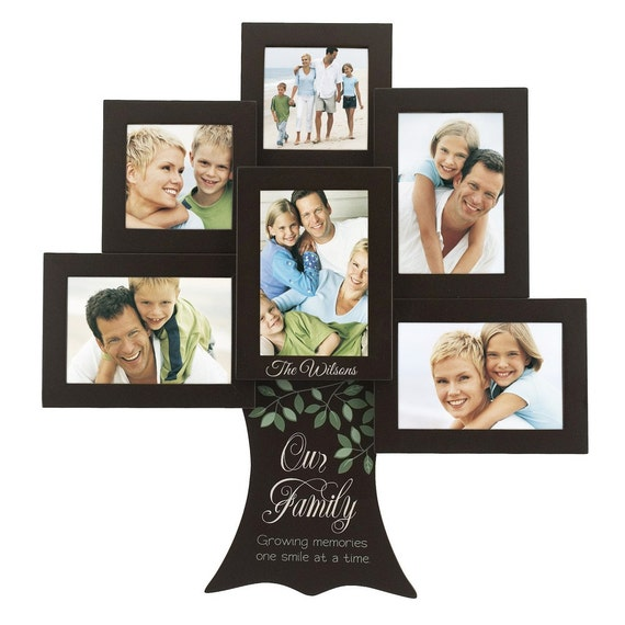 Wallverbs Family Tree Personalized Picture Frame Set: Engraved Personalized Family Tree Photo Collage Frame