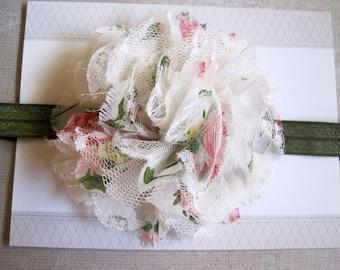 Vintage Floral Chiffon Lace Headband, Baby Headbands, Baby Girl Headbands, Baby Girl Headbands, Infant Headbands, Baby Bows
