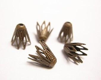 30pc 9.5x9mm antique copper brass made filigree bead caps-8172