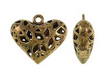 2pc 29x27mm antique gold finish metal heart pendant-8679