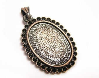 2pc antique copper metal cabochon setting/pendants-456