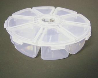 2pcs Round Plastic Beads Storage Boxes Container -Q305