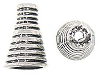 8pc 16x10mm antique silver finish metal cone shape bead caps-9079
