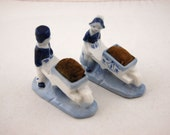 Vintage Dutch boy and girl  Pin Cushions - Made in Japan