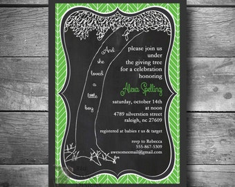 The Giving Tree Baby Shower Invitation in Chalkboard and Green Herringbone, DIY Printable Email or Text Baby Shower Invite