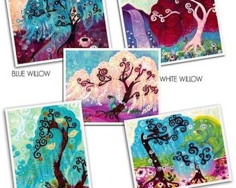 Swirly WILLOW Tree Set of 5  ORIGINAL Pop Art Prints  by Natasha Wescoat 8x10 12x16 13x19 16x20