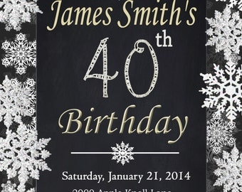 Surprise Birthday Party, Chalkboard Printable 30th 40th 50th 60th Birthday. Black Gold Sliver Diamond number. Made to order